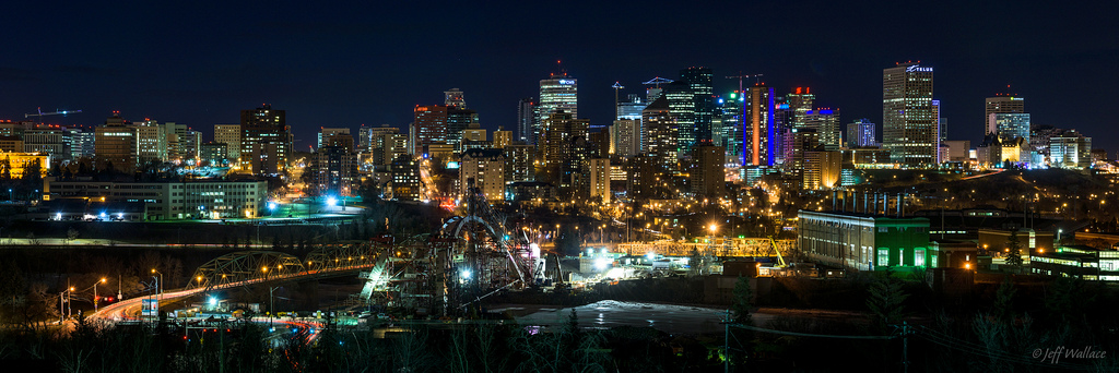 Edmonton at Night – Photo by Jeff Wallace