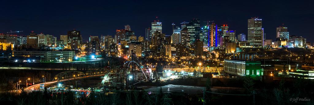 Edmonton at Night – Photo by Jeff Wallace